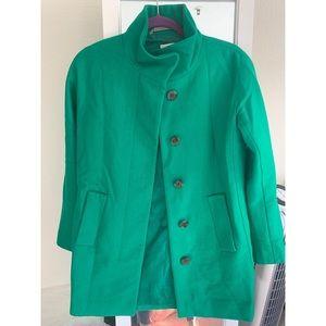 J Crew green wool coat size 0
